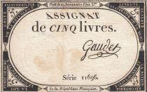 France 5 Livres 10 Brumaire An II (31.10.1793) - Sign. Gaudet