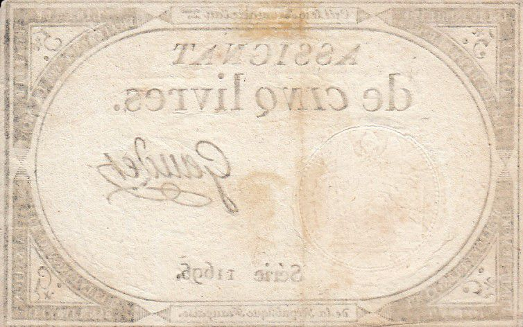 France 5 Livres 10 Brumaire An II (31.10.1793) - Sign. Gaudet