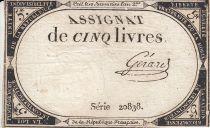 France 5 Livres 10 Brumaire An II (31.10.1793) - Sign. Gerard