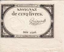 France 5 Livres 10 Brumaire An II (31.10.1793) - Sign. Guinand