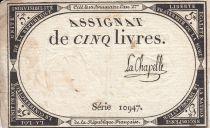 France 5 Livres 10 Brumaire An II (31.10.1793) - Sign. La Chapelle
