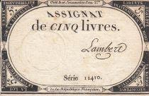 France 5 Livres 10 Brumaire An II (31.10.1793) - Sign. Lambert (1)