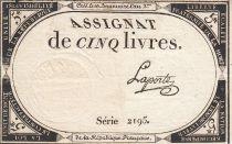 France 5 Livres 10 Brumaire An II (31.10.1793) - Sign. Laporte