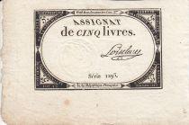France 5 Livres 10 Brumaire An II (31.10.1793) - Sign. Loiselau
