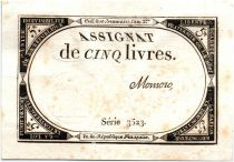 France 5 Livres 10 Brumaire An II (31.10.1793) - Sign. Momoro