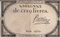 France 5 Livres 10 Brumaire An II (31.10.1793) - Sign. Petitain