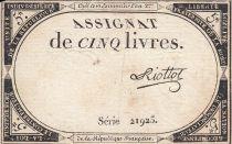 France 5 Livres 10 Brumaire An II (31.10.1793) - Sign. Riottot