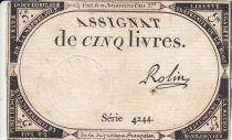 France 5 Livres 10 Brumaire An II (31.10.1793) - Sign. Rolin