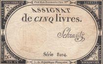 France 5 Livres 10 Brumaire An II (31.10.1793) - Sign. Schrantz
