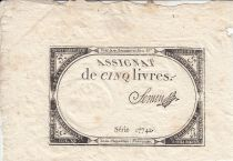 France 5 Livres 10 Brumaire An II (31.10.1793) - Sign. Semen