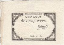 France 5 Livres 10 Brumaire An II (31.10.1793) - Sign. Troupe
