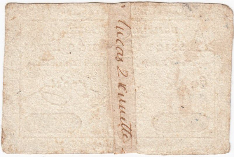 France 5 Livres Embossed seal Louis XVI - 01-11-1791 - Serial 60 G - Good