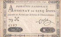 France 5 Livres Embossed seal Louis XVI - 01-11-1791 - Serial 79 H - VF