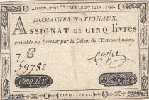 France 5 Livres Louis XVI 27-06-1792 - Serial 7 C