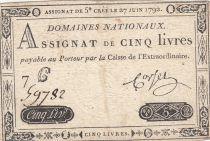 France 5 Livres Louis XVI 27-06-1792 - Série 7 C