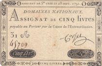 France 5 Livres Louis XVI 28-09-1791 - Serial 31 A