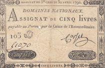 France 5 Livres Louis XVI 30-04-1792 - Série 103 D