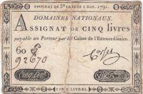 France 5 Livres Timbre sec Louis XVI - 01-11-1791 - Série 60 G - P.TB
