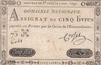 France 5 Livres Timbre sec Louis XVI - 01-11-1791 - Série 73 H - TTB