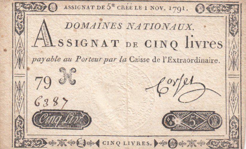 France 5 Livres Timbre sec Louis XVI - 01-11-1791 - Série 79 H - TTB
