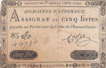 France 5 Livres Timbre sec Louis XVI - 01-11-1791 - Série 83 A - P.TB