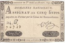 France 5 Livres Timbre sec Louis XVI - 28-09-1791 - Série 24 C
