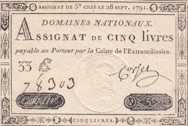 France 5 Livres Timbre sec Louis XVI - 28-09-1791 - Série 33 E - SPL