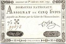 France 5 Livres Timbre sec portrait de Louis XVI (01-11-1791)