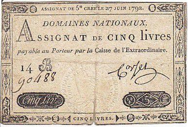 France 5 Livres Timbre sec portrait de Louis XVI