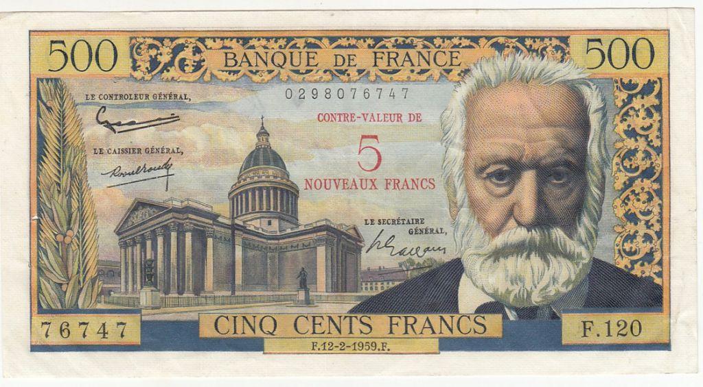 France 5 NF / 500  Francs Victor Hugo - 12-02-1959 Série F.120 - TTB