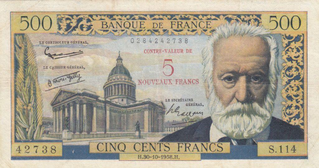 France 5 NF/500 Francs Victor Hugo - 30-10-1958 - Série S.114 - TB+