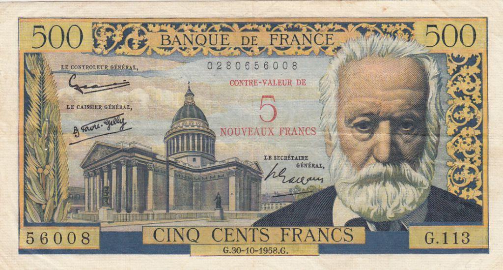 France 5 NF sur 500 Francs - Victor Hugo - 1958 - Série G.113