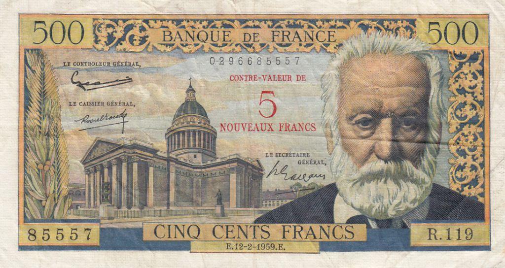 France 5 NF sur 500 Francs Victor Hugo - 1959 Série R.119