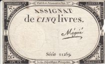 France 5 Pounds 10 Brumaire Year II (1793-10-31) - Sign. Megnie