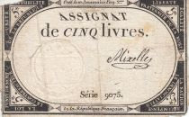 France 5 Pounds 10 Brumaire Year II (1793-10-31) - Sign. Mixelle