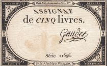 France 5 Pounds 10 Brumaire Year II (31.10.1793) - Sign. Gaudet