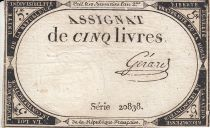 France 5 Pounds 10 Brumaire Year II (31.10.1793) - Sign. Gerard
