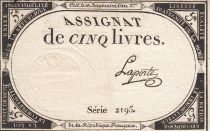 France 5 Pounds 10 Brumaire Year II (31.10.1793) - Sign. Laporte