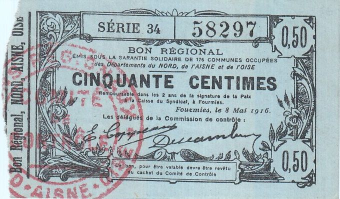 France 50 cent. Fourmies - Serial 34 - 08/05/1916