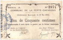 France 50 cent. La Ferte-Chevresis City - 1915
