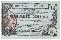 France 50 cent. Laon Régional - 1916