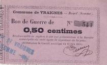 France 50 cent. Vraignes Bon de guerre