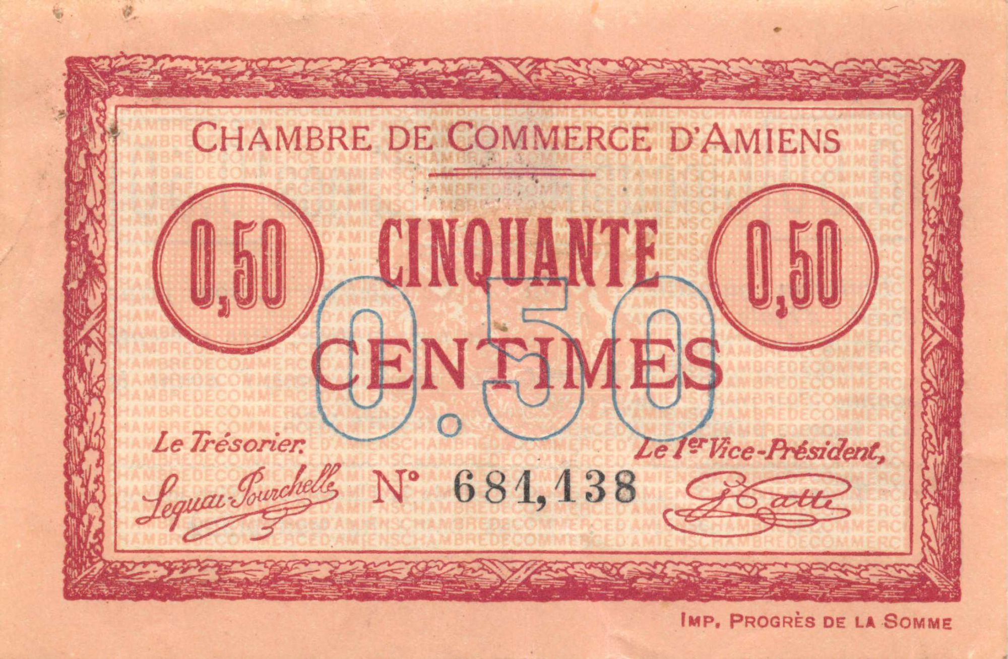 France 50 Centimes - Amiens Chamber of Commerce 1915 - XF