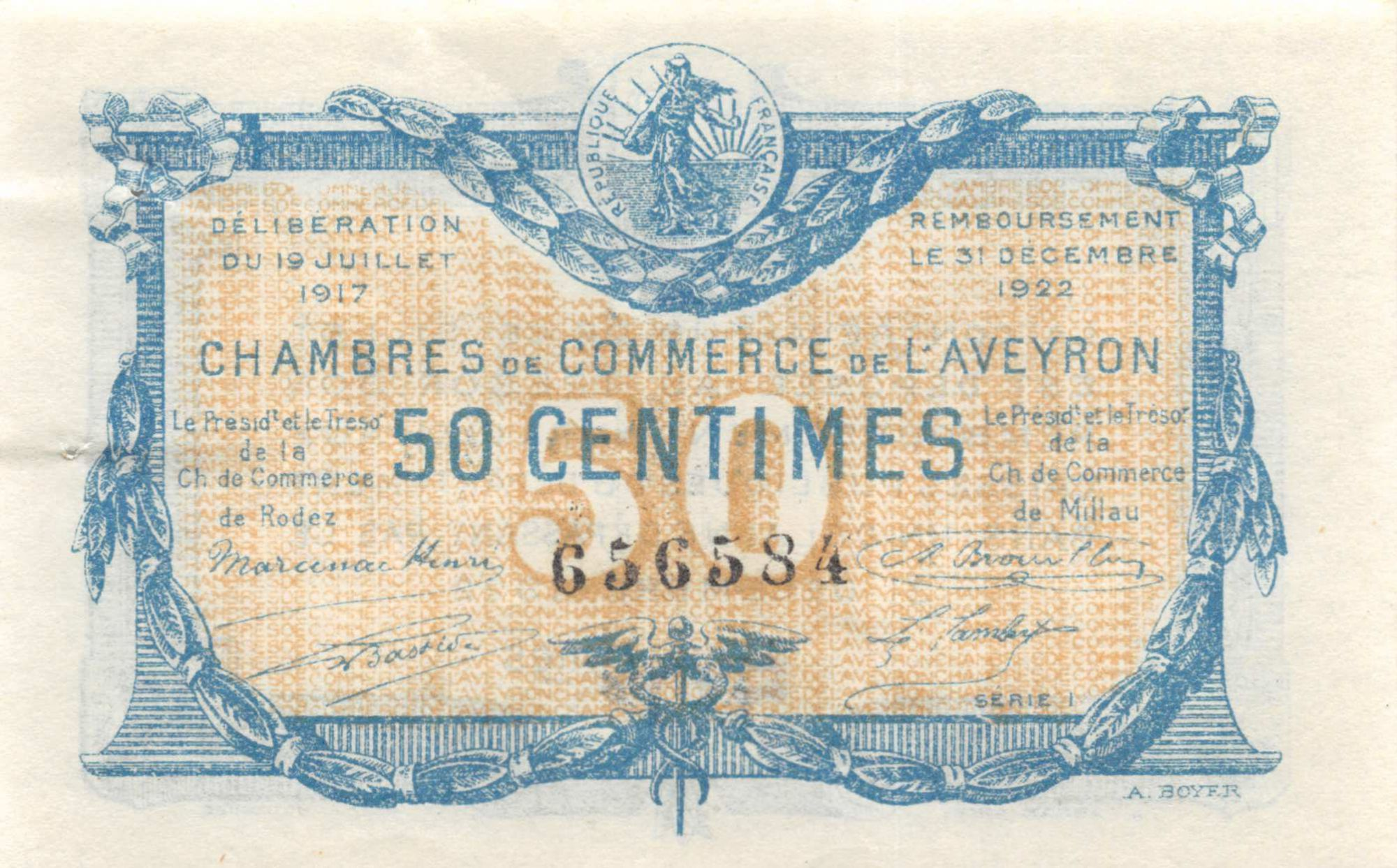 France 50 Centimes - Aveyron Chamber of Commerce 1917 - XF