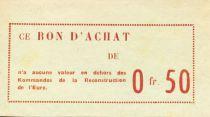 France 50 Centimes - Bon des Kommandos de la Reconstruction de l\'Eure - SUP