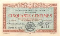 France 50 Centimes - Chambéry Chamber of Commerce 1916 - XF