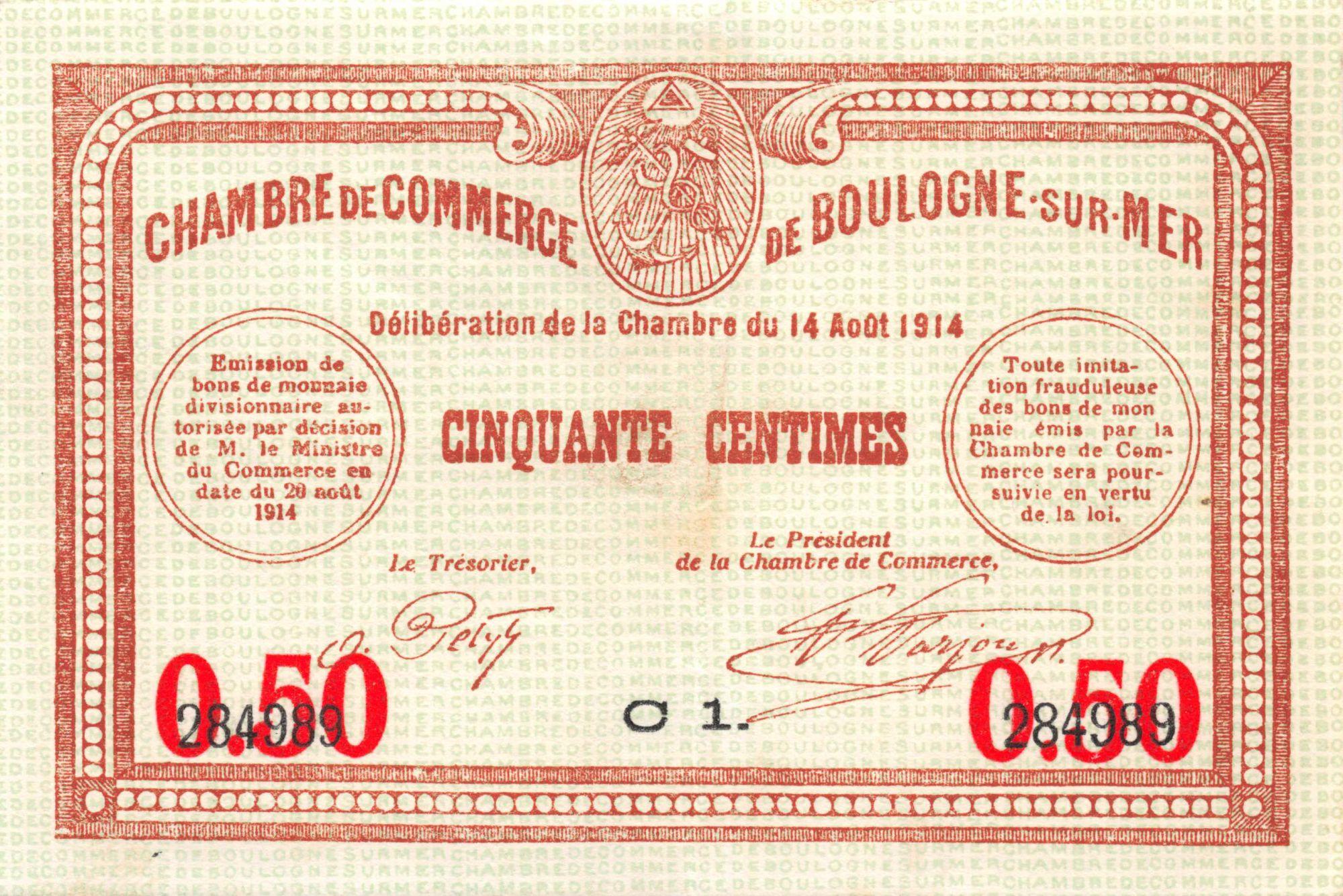 France 50 Centimes - Chambre de Commerce de Boulogne-sur-Mer 1914 - SUP