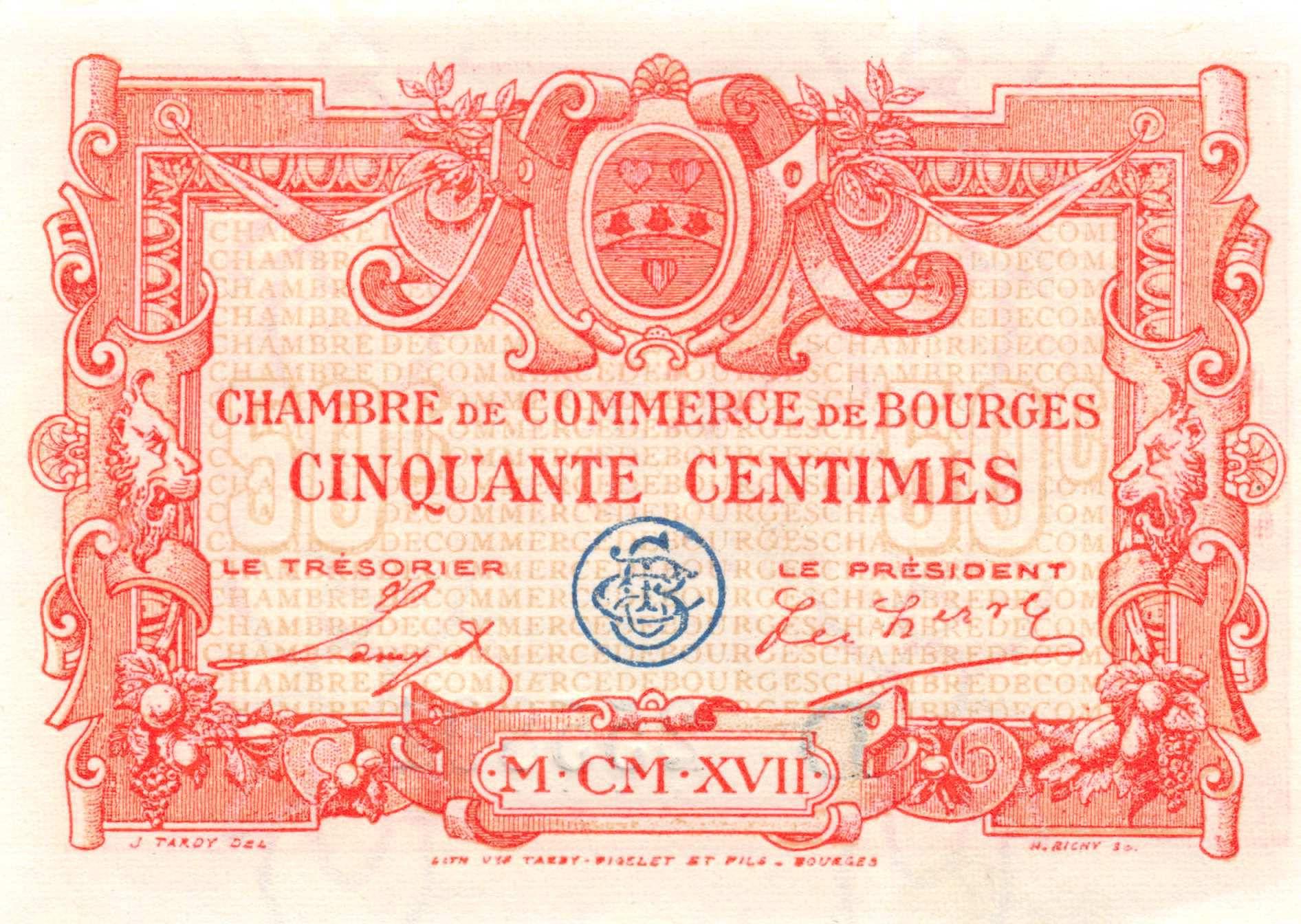 France 50 Centimes - Chambre de Commerce de Bourges 1917 - P.NEUF