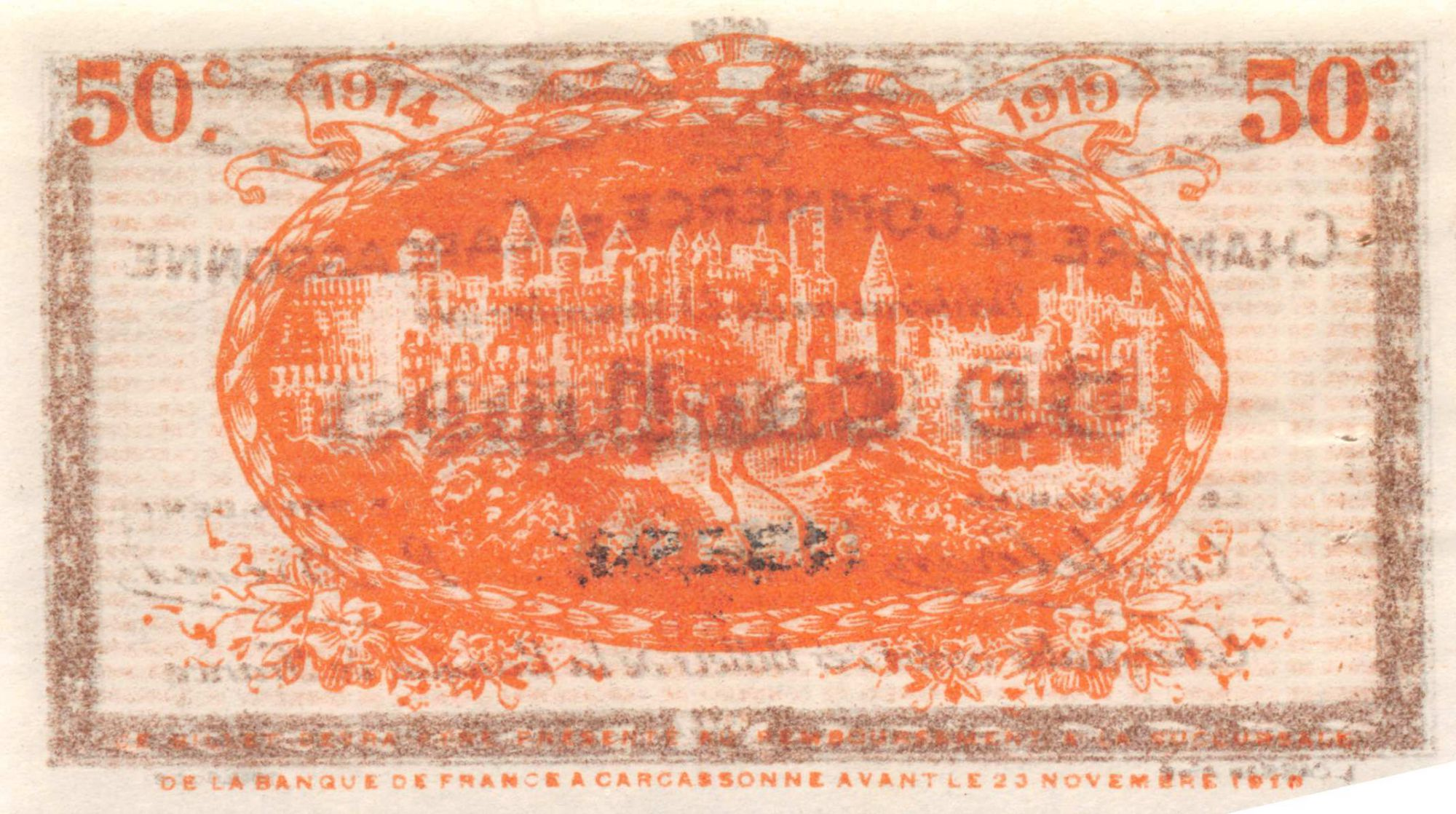 France 50 Centimes - Chambre de Commerce de Carcassonne 1914 - SUP