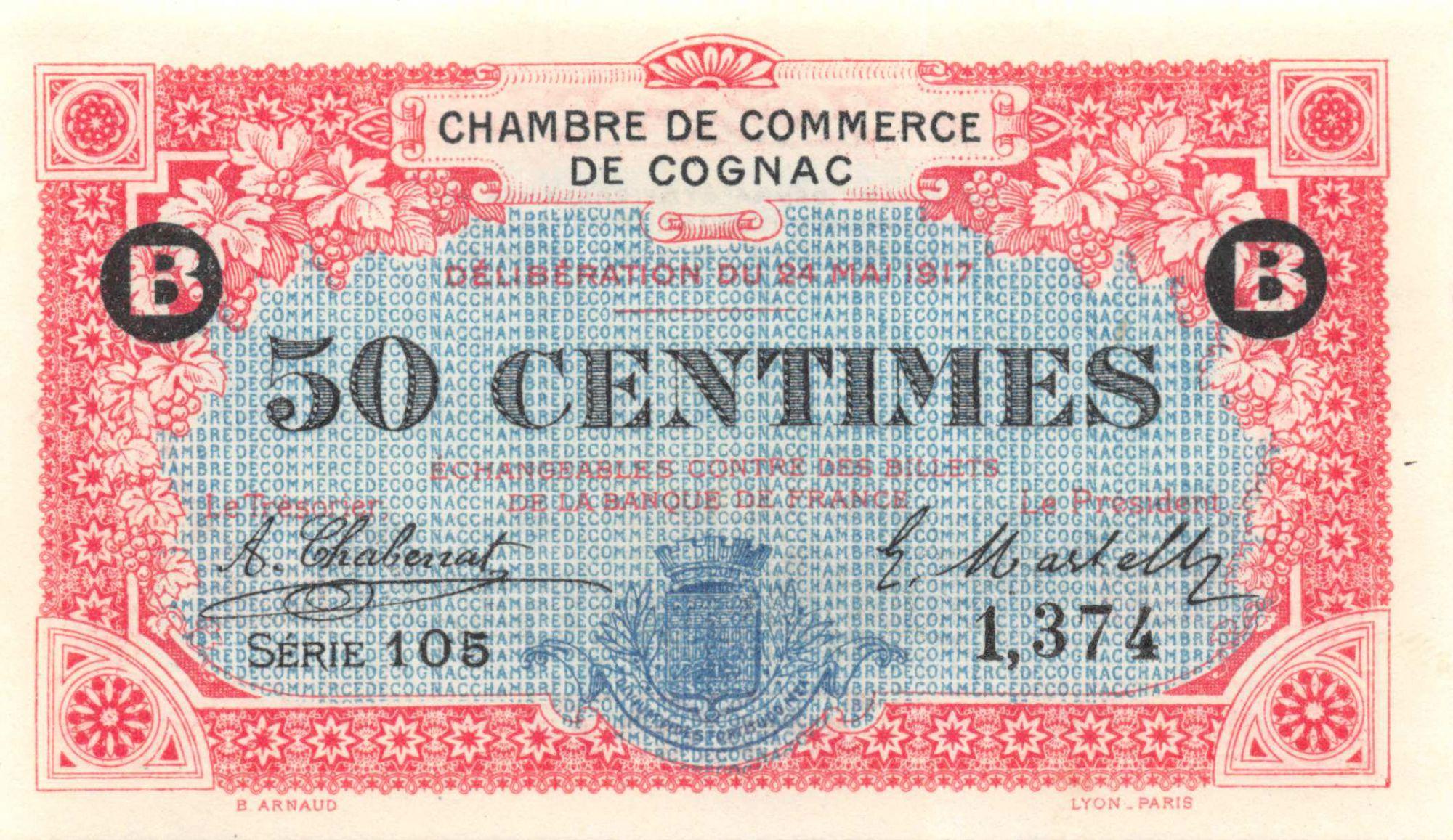 France 50 Centimes - Chambre de Commerce de Cognac 1917 - P.NEUF